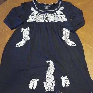 Chelsea & Theodore Large Navy Embroidered Dress